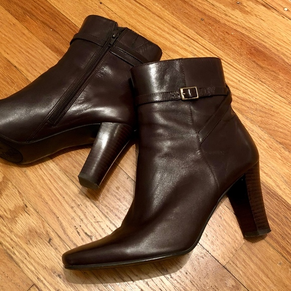 Bandolino Shoes - Bandolino Dark Brown Leather Ankle Boots